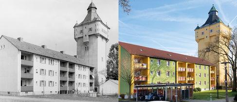 Schweinfurter Wohngeschichten - Tilsitstraße am Wasserturm am Bergl - gegenu¦êberstellung03
