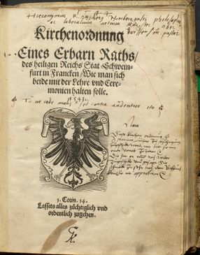 Reformation 475 Jahre Titelblatt Schweinfurter Kirchenordnung, 1543, Copyright Stadtarchiv SW